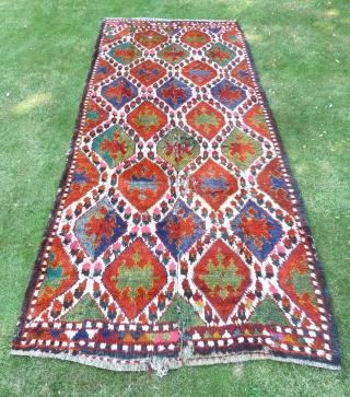 Uzbek Julkhyr with ikat design, four vertical lengths joined. 345 x 140 cm. First half 20th Century.