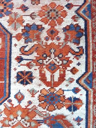 "A rare white-ground Khamseh rug, with luminous natural colours. Second half 19th Century.  6'5"" x 4'6"" /196 x 138cm"