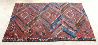 """A beautiful fragment from an Ersari Beshir main carpet. Middle Amu Darya region, early 19th Century. The four sides are secured by ticking sewn on the back. 4'2"""" x 2'6"""" / 127  ..."""