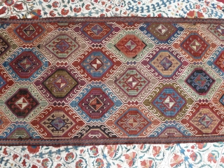 A superb mid-19thC. central or east Anatolian cicim brocade panel. 212 x 80cm