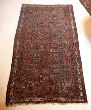 A very rare geometric design Belouch rug, probably from Iranian Khorassan, c.1900. There is excellent balance to the design and a subtle use of colour, with the loose handle typical of weavings  ...