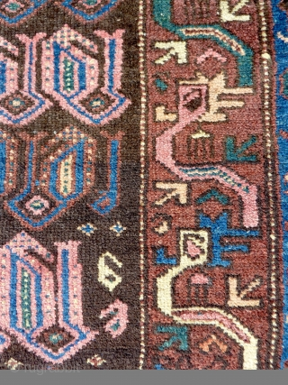 A quirky Northwest Persian Kurdish rug, early 20th Century. 198x107cm, in good pile throughout.