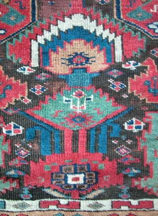 """Saj Bulagh Kurdish, N.W. Persia, mid 19th century. 8'9"""" x 4'1"""". Mid 19th century. Original sides, ends and full pile, except for corroded brown. Excellent condition."""