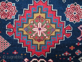 """Beautiful Shirvan Rug, 19th century. 4'5"""" x 7'3"""". Some minor restoration, but not over restored. Excellent range of natural dyes. Very fine work."""