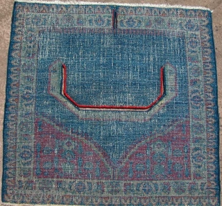 """Kirman Saddle Cover, 3rd Qt. 19th century, supposedly military issue. Very old looking back, and very nice condition. 30"""" x 32"""" SOLD"""
