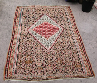 """Handsome Senneh Kilim, circa 1900, NW Persia. Missing 1/2"""" from one end, otherwise nice condition. Approx; 4' x 6'. SOLD"""