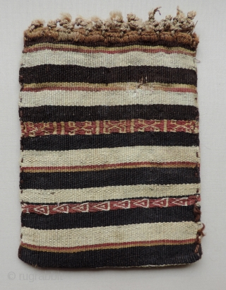 Small Incan Tapestry Bag,  Inca period, c.1470 - 1532.  Size: 4 x 5.5 inches.  Complete small bag or pouch with interesting tapestry design.  Some discoloration on one side,  ...