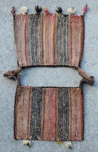 Aymara Alforjas, (carrying bags).  Late Colonial Period, Bolivia.  18th century.  Warp-faced woven bags such as these were  worn over the shoulders.  They are always made in pairs,  ...