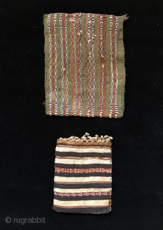 Two Inca period coca bags. A.D. 1400 - 1532.  These two small, interesting coca bags were woven in different structures. The smaller of the two bags is a rare, classic Incan  ...