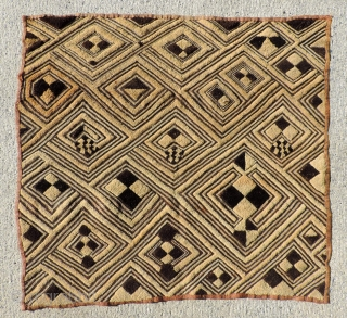 Man's status cloth, Shoowa people, Congo.  Early 20th century. 23 x 24 inches. Other collectable examples available.