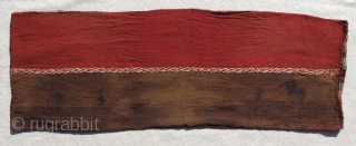 Pre-Columbian Belt Bag. A.D. 1100 - A.D. 1400.  Far North coastal region of Chile. Woven in a complimentary  warp-faced weave from alpaca fiber.  Size: 11 x 32 inches.   ...