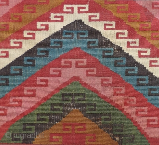 Pre-Columbian Tapestry Textile.  Very interesting mounted fragments of both faces of a large coca bag. Excellent color and preservation.  This mixed technique tapestry and patterned warp faced weave composition is  ...