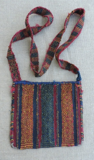 Inca Period Coca Bag.  1450 A.D. to 1532 A.D.  South highlands. Size: 5.75 x 6.5 inches without strap.  This small Incan period coca bag (chuspa) is very appealing for  ...