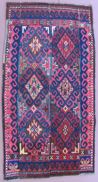 Julkhyr, Central Asia, late 19th century.  Uzbek?  Warp faced back strip rug with unusual back.  Size:44 x 86 inches.