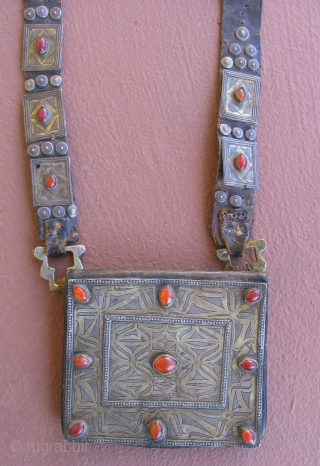 Turkmen Amulet Pouch, Tekke tribes. 19th century.  Leather, fire gilded silver and carnelian.