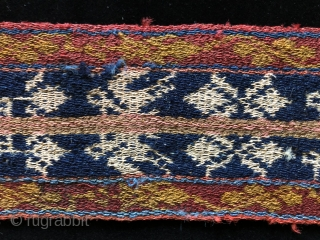 Five 19th century warp-faced woven belts from the high Andes.  Woven by Aymara Indians in the Altiplano region of Bolivia using fine alpaca fiber yarns in a complimentary warp-faced weave.   ...