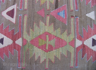 Anatolian Kilim Half. 1st Half of the 19th century.  Solid condition, unusual color scheme.  Reasonable price