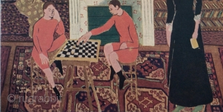 """Detail of one of my favorite Matisse paintings showing a 19th century """"Afghan"""" Rug on the floor.  Likely painted in the early 20th century.  Titled: """"Portrait de Famille"""". Note the  ..."""