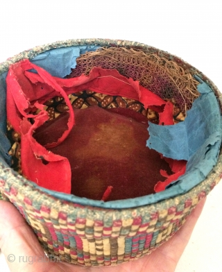 There are nearly 3,500 individual rectangles of silk cloth that was cut on the bias and sewn down with great skill and precision to create this hat. Each individual piece of silk  ...