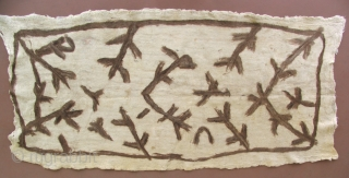 Turkish felt hanging. The way the wispy felted brown wool was applied here gives an almost brushstroke-like appearance to the pattern and lends a calligraphic quality to this unique object.  The  ...