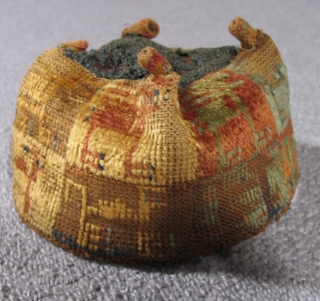 "Pre-Columbian Four Corner Hat Peru, Wari Culture 400 – 600 A.D. Height: 3.5"" Ref: PCT 224    Please visit our online exhibition: Andean Textile Traditions."