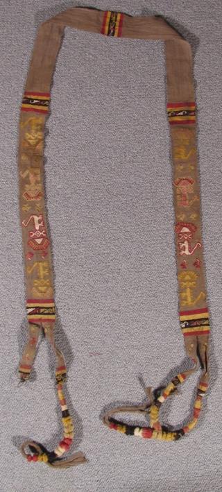 """Pre-Columbian Sash Peru, Chimu Culture 1000 – 1400 A.D. Total Length: 102"""" (259 cm) Width: 2"""" (5 cm) Ref: 212   Please visit our online exhibition: Andean Textile Traditions."""