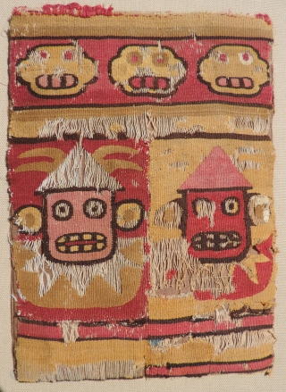 Two very fine pre-Columbian bags from the highland Wari and Inca Cultures, A.D. 500 - 800 & A.D. 1400 - 1532.  The related color sense of both bags indicates a North  ...