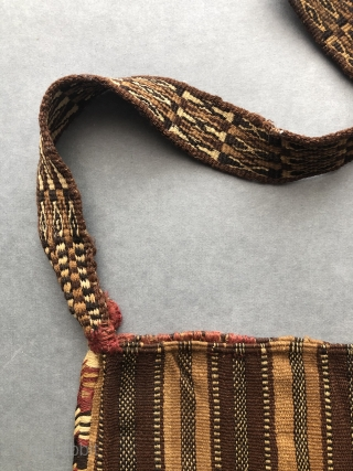 Incan period Coca bag complete with strap.  Supple and soft - this warp-faced plain weave coca bag is made from two ply alpaca fiber yarns that are exceptionally finely spun.   ...