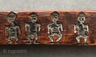 Antique Tibetan Zanpar (carved wooden mould stick). This zanpar was carved with numerous primitive and evocative figures.  Zanpars often depict miniature demons, animals and deities or ritual implements.  Tsampa, a  ...