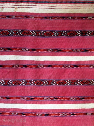 "Complete Tekke Turkmen Ak Chuval, cotton whites, bands of pile across a flat-woven surface. Full bag with back. late 19th cen. 4'x 2'8"" / 122x81"