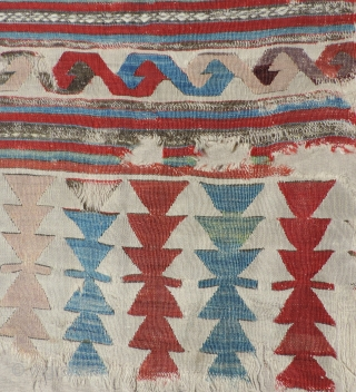 The scale of the design elements in this early Anatolian kilim are impressive. This, along with other factors indicate a date well before 1800 for the kilim. Because it is hard to  ...