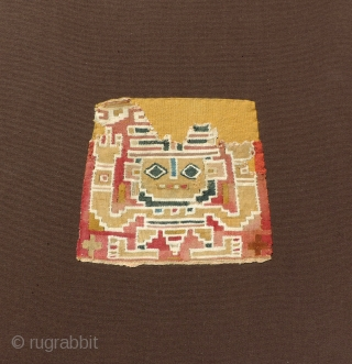 "Pre-Columbian bag face, Chimu Culture.  Ex-collection Ferdinand Anton.  Published in ""Ancient Peruvian Textiles""  by Ferdinand Anton, 1987, plate 110.  This is a very good tapestry woven image of  ..."