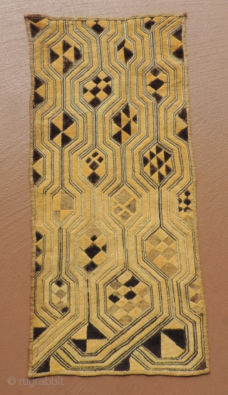 Old Kuba pile raffia cloth,  Early 20th century.  Size approx:  13.5 x 27 inches.  This is an old and collectable textile.