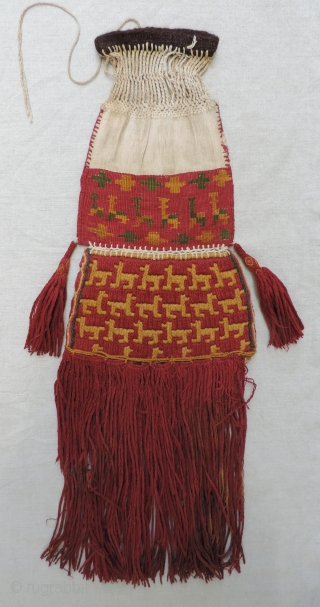 Large, classic Incan official's ceremonial coca bag, Peru, South Coast. AD 1400 -1532.  This is an excellent and rare example of a type of bag thought to be used by Incan  ...