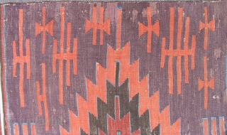 Anatolian Kilim. 1st half of the 19th century. Large scale, simple, bold design with all good dyes. Complete with some 30 year old minor restoration work done states-side - see details.   ...
