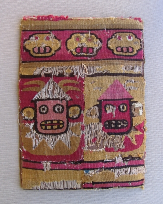 Unique tapestry woven coca bag. Peru, Wari Culture, ad 500 - 800. This small bag has killer imagery with it's Jester-like main figures. One figure appears to be biting his tongue and  ...