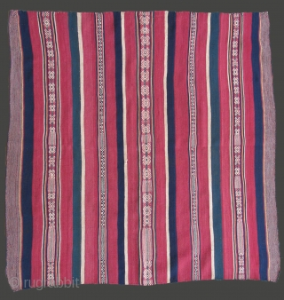 Very unusual Aymara mantle from Peru, 19th century, one of only a few known.  39 x 41 inches.