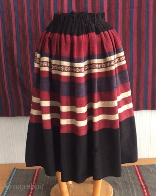 "19th century woman's skirt known as an ""urku"" in the Aymara language. This pleated skirt form was adopted by the indigenous Aymara from a pleated skirt type worn by Spanish women in  ..."