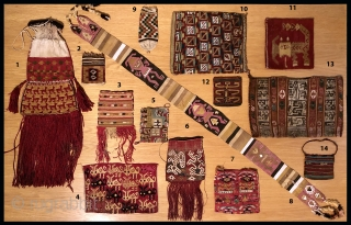 Ancient Andean textiles on the table.  From A.D. 200 to A.D.1500. By the numbers inside.