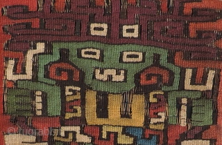 Early Nasca tapestry fragment with human figures.  Re-purposed into a small bag. Great color and iconography.  Size: 8.5 x 7 inches.