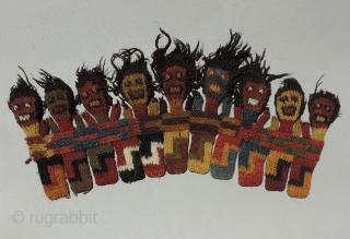 Nearly 2000 years ago these figures decorated an important ritual cloth.  Early Nasca knitted figures like these were part of a long border strip that was sewn to a rectangular, plain  ...