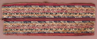 Pre-Columbian belt bag, AD 1100 - AD 1500, 11 x 32 inches, rare type of belt that doubled as a bag with the opening in the top middle.  Rare color and  ...
