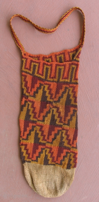 Pre-Columbian Sihuas Pouch, Peru, 100 BC - 400 AD. Very unusual design and coloration for the type.  8 x 22 inches. I have several other bags from this area and time  ...
