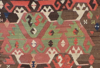 Early Anatolian Kilim Fragment.  First quarter of 19th century or before.  Size 128 x 41 inches.  Nice old piece with good color, a sturdy handle and early imagery.   ...