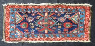 "Rare 19th c. Persian bedding bag face. The origin of this piece is anyone's guess. ""Probably woven in Persian Azerbaijan in a settled community like Heriz, but not necessarily Heriz, where they  ..."