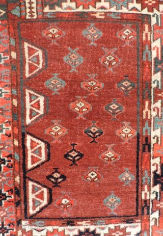 Yomud Turkmen Engsi.  19th century.  Good dyes and  pile throughout. White marker knots along the axis of the rug.   Size: 70 x 51 inches.     ...