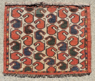 Unusual Central Asian Boteh designed bag face.  Excellent condition.  Probably some type of Uzbek. 19th century. Size: 17 x 20 inches. very reasonable.