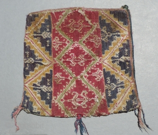 Very unsuual silk embroidered Colonial period coca bag from Bolivia.  18th century or earlier.  The use of silk embroidery signifies that this was a special bag.  The indigenous Aymara  ...