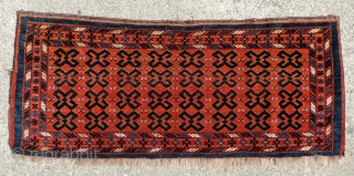 This very unusual 19th century Middle Amu Daria region torba or trapping has a design like that seen in flat woven pieces often attributed to the Ersari. This example may well be  ...