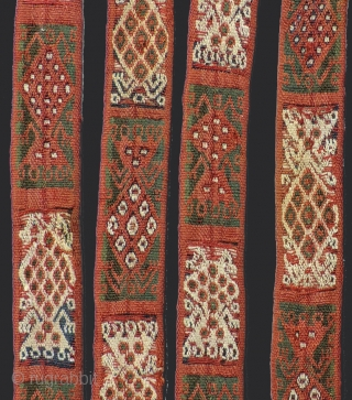 Pre-Columbian sash. Complete. Warp-faced, double cloth band woven in alpaca fiber.  Size: 1.5 inches x 13 feet.  A.D. 1000 - 1400.  Design of alternating zoomorphic/anthromorphic figures.  Finely woven  ...